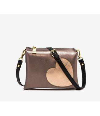 Gum Handbag Glossy heart Bronze