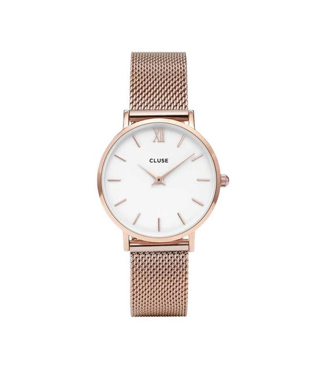 Cluse Watch Minuit Mesh rose gold/white