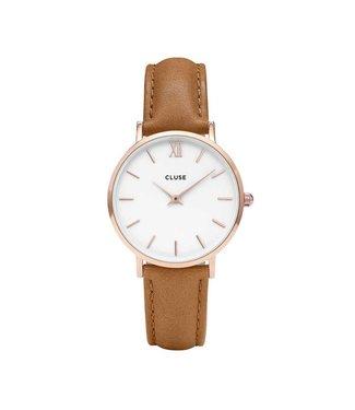 Cluse Watch Minuit rosegold white/caramel