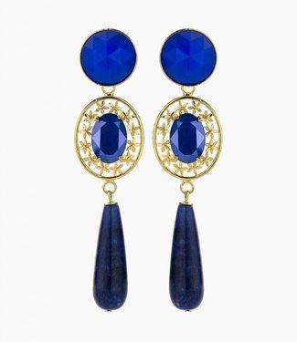 Souvenirs de Pomme Boucles d'oreilles oval filegree royal