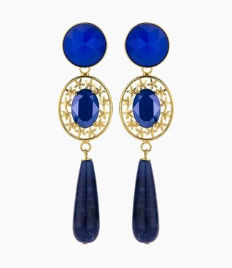 Souvenirs de Pomme Earring oval filegree royal