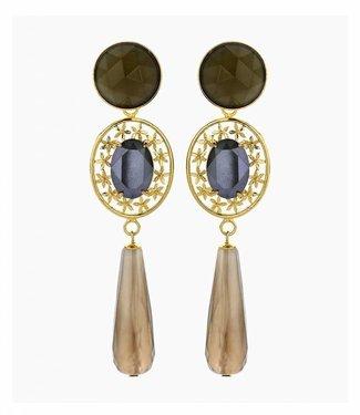 Souvenirs de Pomme Boucles d'oreilles oval filegree greige