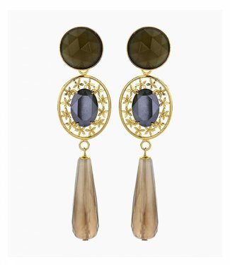Souvenirs de Pomme Earring oval filegree greige