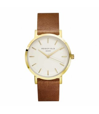 Rosefield Montre Gramercy white brown gold