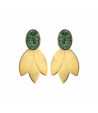 Souvenirs de Pomme Boucles d'oreilles Leafs Short Green