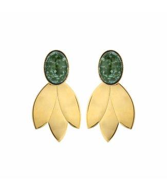 Souvenirs de Pomme Earring Leafs Short Green