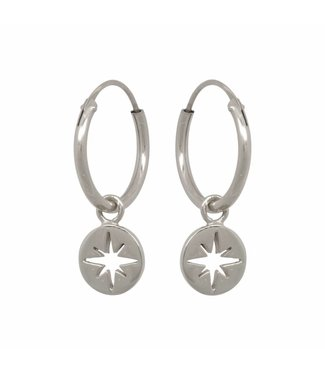 Eline Rosina Boucles d'oreilles North star coin hoops sterling silver