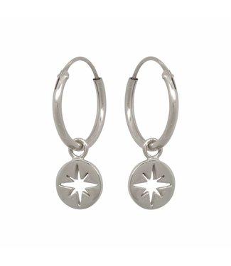 Eline Rosina Oorbel North star coin hoops sterling silver