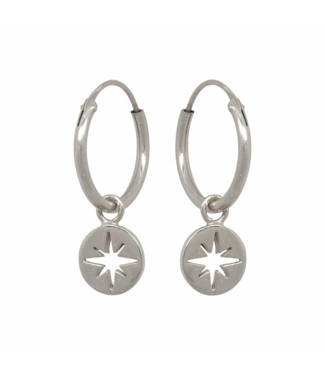 Eline Rosina Oorbel North star coin hoops sterling silver