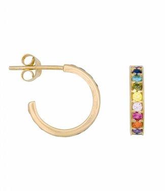 Eline Rosina Oorbel Rainbow hoops gold (14mm)