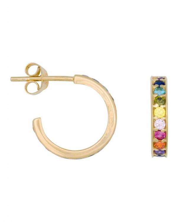 Eline Rosina Earring Rainbow hoops gold (14mm)