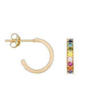 Eline Rosina Earring Rainbow hoops gold (12mm)