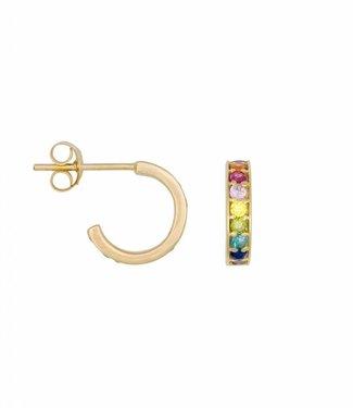 Eline Rosina Oorbel Rainbow hoops gold (10mm)