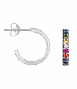 Eline Rosina Oorbel Rainbow hoops sterling silver (14mm)