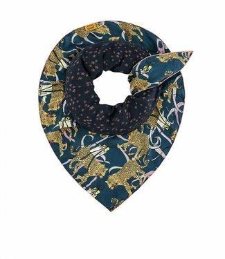 POM Amsterdam Sjaal Double festive leopard blue