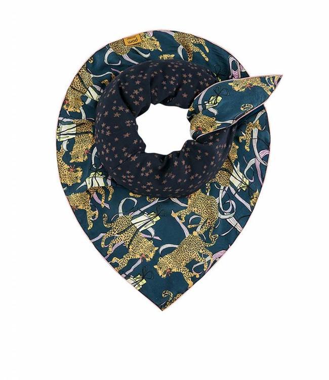 POM Amsterdam Echarpe Double festive leopard blue