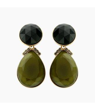 Souvenirs de Pomme Earring Flash 2drops large green