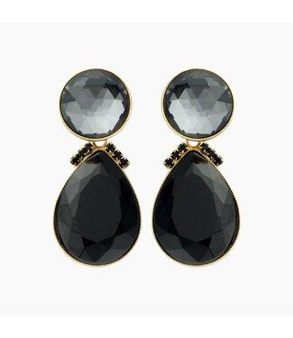 Souvenirs de Pomme Boucles d'oreilles Flash 2drops large black