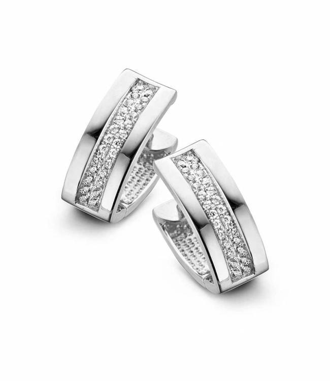 Silver Rose Oorbel Crystal Clip