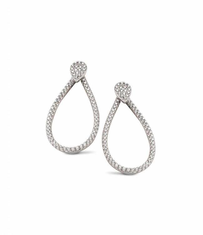 Silver Rose Earring Tridrop Gold