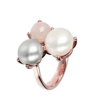 Bronzallure Bague Button Cultured pearls