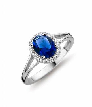 Silver Rose Bague Entourage Blue