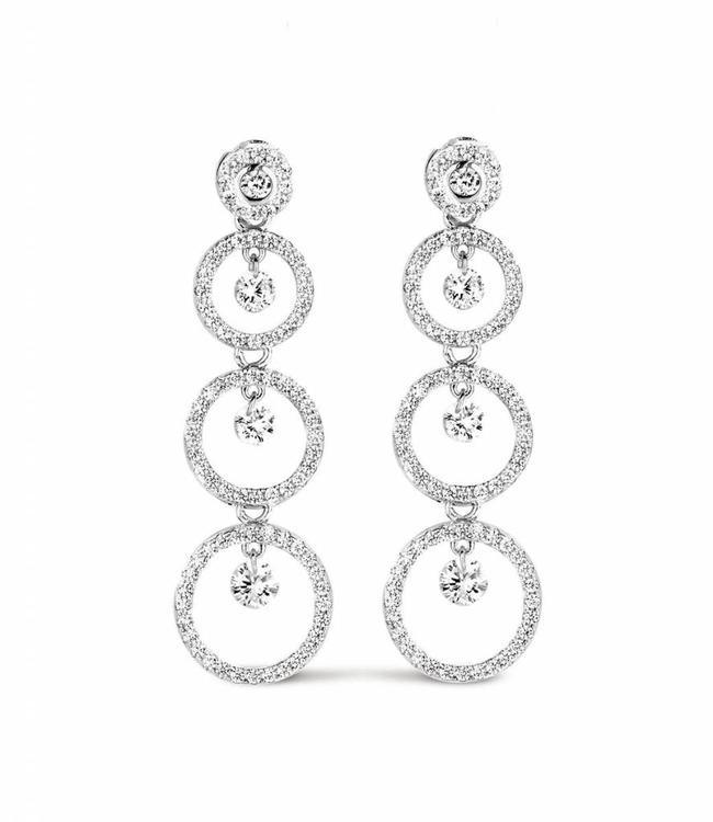 Silver Rose Earring Cascade