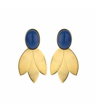 Souvenirs de Pomme Earring Leafs Short Blue