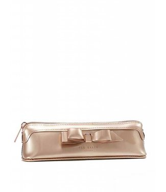 Ted Baker Casella Bow pencil bag rose gold