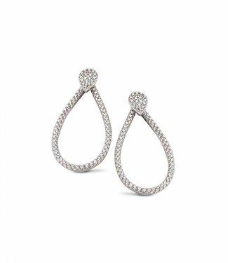 Silver Rose Earing Tridrop Zilver