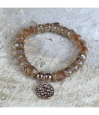 Miracles Bracelet Gold And Peach Big Stones With Round RG Charm