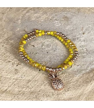 Miracles Armband yellow gold stone pineapple charm