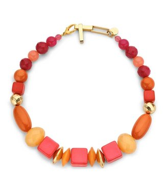 Souvenirs de Pomme Halsketting Beaded Berry Single Coral