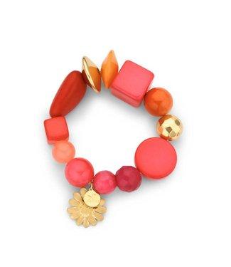 Souvenirs de Pomme Armband Beaded Candy Coral