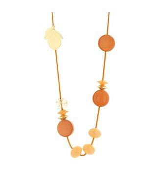 Souvenirs de Pomme Long Cordy Lemon necklace orange