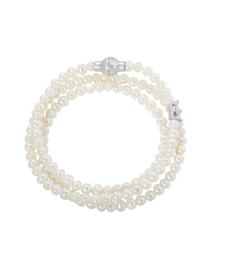 Essentials bracelet Freshwater Pearls matt silver