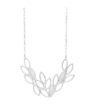 Sence Copenhagen Birch necklace Aquamarine matt silver - 45 cm