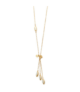 Sence Copenhagen Birch necklace Aquamarine matt gold - 75 cm