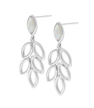 Sence Copenhagen Birch earstuds Aquamarine matt silver