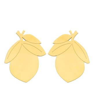 Souvenirs de Pomme Lemon Large statement earring gold