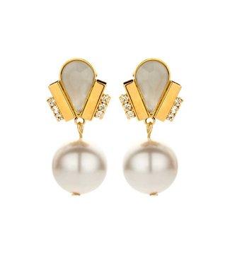 Souvenirs de Pomme Ducre short earring white