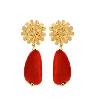 Souvenirs de Pomme Sunbeam Short Red Earring