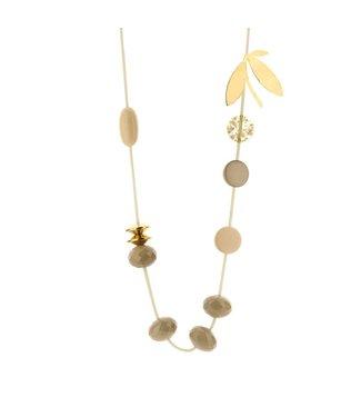 Souvenirs de Pomme Long Cordy Florence necklace beige