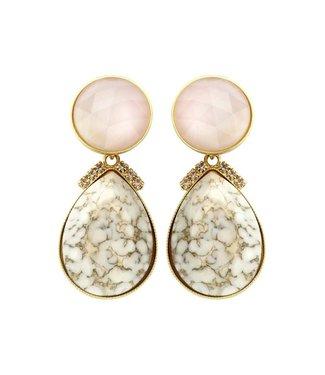 Souvenirs de Pomme 2 drops earring nude