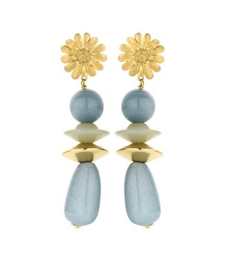 Souvenirs de Pomme Sunbeam long statement earring blue