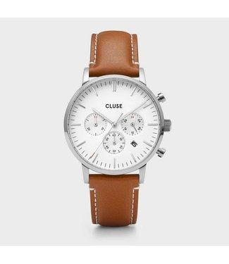 Cluse Uurwerk Aravis Chrono leather, silver, white/light brown