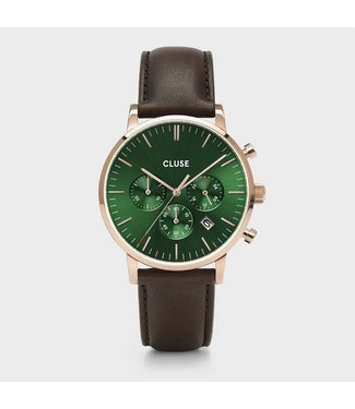 Cluse Uurwerk Aravis Chrono leather, rose gold, green/dark brown