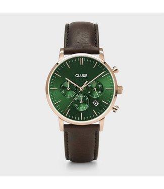 Cluse Uurwerk Aravis Chrono leather, rose gold, green/dark brown