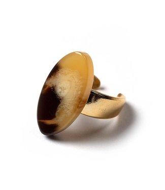 Laurence Delvallez Ring Refer Bone Brown