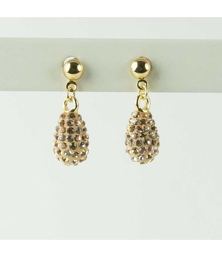 Phantasya Oorbel drop short crystal gold